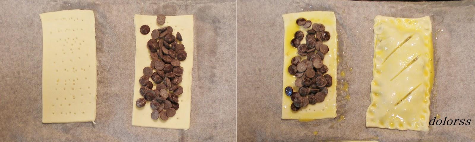 Coca de hojaldre rellena de chocolate .